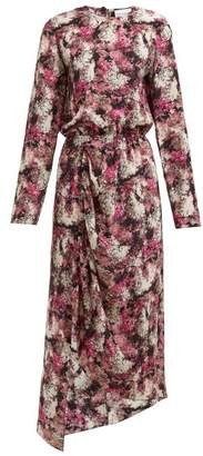 Raey Asymmetric Ditsy Floral Print Silk Dress - Womens - Pink Print