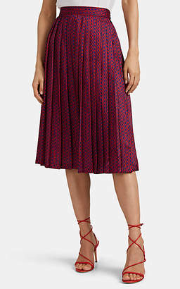 Barneys New York Women's Chain-Print Pleated Skirt - Red