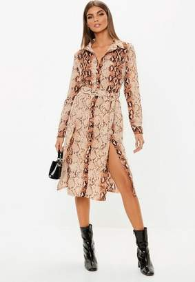 Missguided Snake Print Button Down Midi Shirt Dress