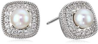 Sterling Silver Genuine Garnet and Created White Sapphire Halo Cushion Stud Earrings