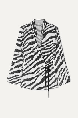 RIXO London - Blossom Tiger-print Sequined Tulle Wrap Blouse - Zebra print
