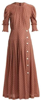 Alessandra Rich - Polka Dot Print Pleated Silk Dress - Womens - Brown White