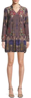 Tolani Rory V-Neck Mixed-Print Flounce-Hem Floral-Print Silk Tunic Dress