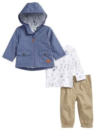 Chambray Hooded Jacket, T-Shirt & Pants Set
