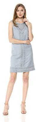 Adrianna Papell Women's LACE Trimmed Positano Linen Shift Dress, 6