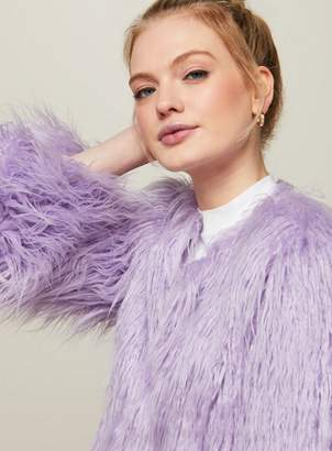 Miss Selfridge Petite faux fur mongolian coat
