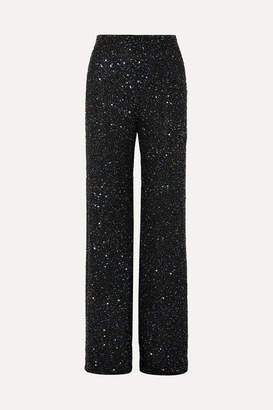 Jenny Packham Arno Embellished Chiffon Wide-leg Pants - Black