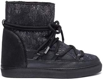 INUIKII 'Burret' metallic shearling wedge sneaker boots