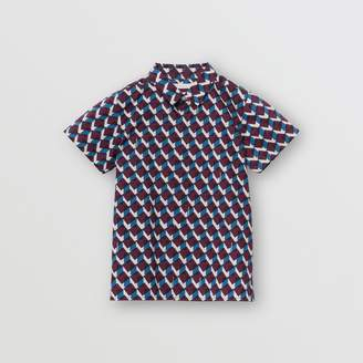 Burberry Short-sleeve Geometric Print Cotton Shirt