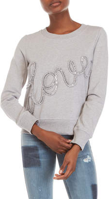 Love Moschino Sequin Logo Crew Neck Sweatshirt