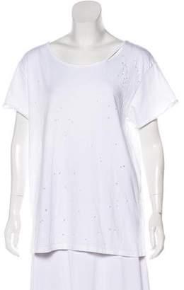 RtA Denim Distressed Short Sleeve T-Shirt