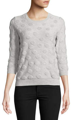 Lord & Taylor Petite Shadow French Terry Cotton Sweater
