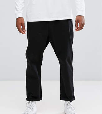 Asos Tall Oversized Tapered Chinos In Black