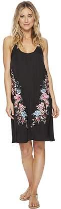 Lucky Brand Zen Garden Embroidered Slip Dress Cover-Up Women's Swimwear