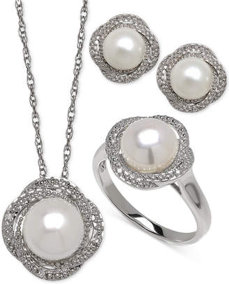 Macy's Cultured Freshwater Pearl (7-8mm) and Diamond Accent Jewelry Set in Sterling Silver