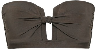 Jets Strapless Cutout Knotted Bandeau Bikini Top