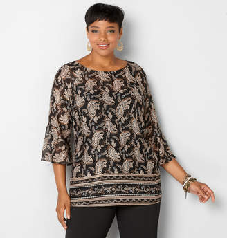 Avenue Paisley Sheer Bell Sleeve Blouse
