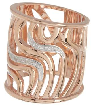 Breuning Rose Gold Plated Sterling Silver Pave White Sapphire Wavy Cutout Ring - Size 7