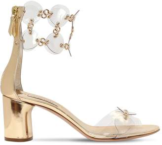 Casadei 60mm Metallic Leather & Plexi Sandals