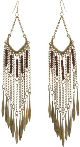 Metal Feather Chandelier Earrings