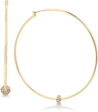 Kenneth Cole New York Gold-Tone Crystal Bead Hoop Earrings