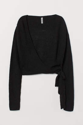H&M Wrapover Boucle Cardigan - Black