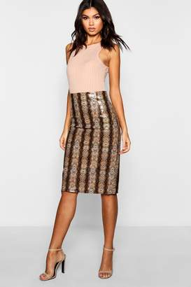 boohoo PU Snake Print Midi Skirt
