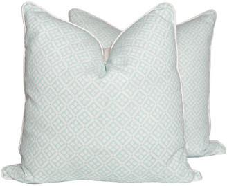One Kings Lane Vintage Quarante Aqua Pillows - Set of 2 - Ivy and Vine