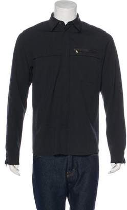 Prada Wool-Blend Leather-Trimmed Shirt