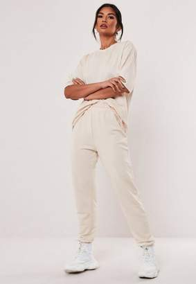 Missguided Stone Co Ord Jersey T Shirt And Jogger Set, Stone