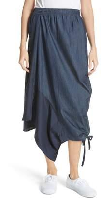 Clu Asymmetrical Mixed Media Skirt