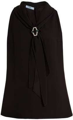 Prada Crystal-embellished crepe sleeveless top