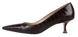 Manolo Blahnik Alligator Pointed-Toe Pumps