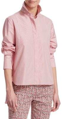 Akris Punto Striped Hi-Lo Hem Blouse