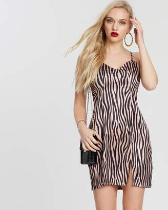 Missguided Zebra Split Front Strappy Mini Dress