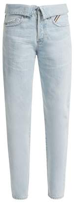 Atelier Jean Flip Fold Over Jeans - Womens - Light Blue