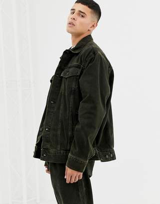Cheap Monday Denim Jacket In Black and Yellow Wash