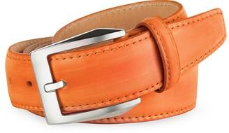 Pakerson Men's Orange Hand Painted Italian Leather Belt