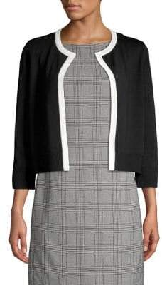 Karl Lagerfeld Paris Open-Front Piping-Trim Cropped Cardigan