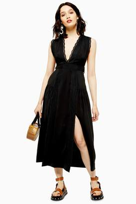 Topshop Womens Black Lace Insert Pinafore Dress - Black