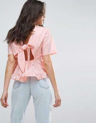 11c2b2c14d at ASOS Lost Ink Frill T-Shirt With Tie Up Bow Back