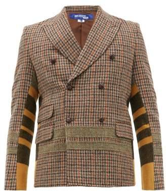 Junya Watanabe Patchwork Double Breasted Wool Blazer - Mens - Brown Multi
