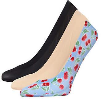 Me Moi MEMOI Womens Three-Pack Cherries Fine Edge Liner Socks