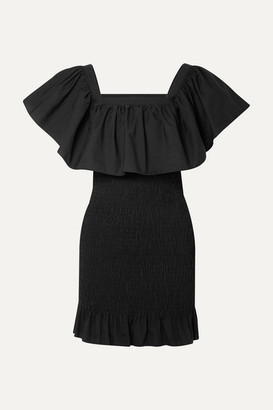 Solid & Striped Ruffled Smocked Cotton-poplin Mini Dress - Black