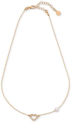 Majorica Cubic Zirconia Heart & Imitation Pearl Collar Necklace