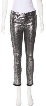 RtA Denim Metallic Mid-Rise Pants w/ Tags