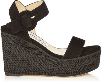 cbdbded0d6 Jimmy Choo ABIGAIL 100 Black Suede Chunky Wedge with Rope