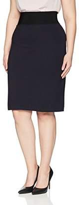 Lark & Ro Women's Plus Size Compression Ponte Pencil Skirt