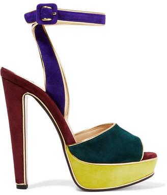 Christian Louboutin - Louloudance Color-block Suede Sandals - Royal blue $1,095 thestylecure.com