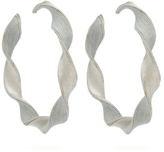 Rebecca De Ravenel Penelope Twisted Hoop Earrings - Womens - Silver